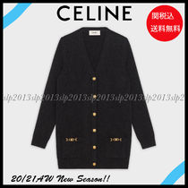 CELINE Casual Style Cashmere Blended Fabrics Long Sleeves Plain