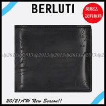Berluti Blended Fabrics Plain Leather Logo Folding Wallets