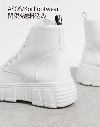 Round Toe Lace-up Casual Style Faux Fur Street Style Plain