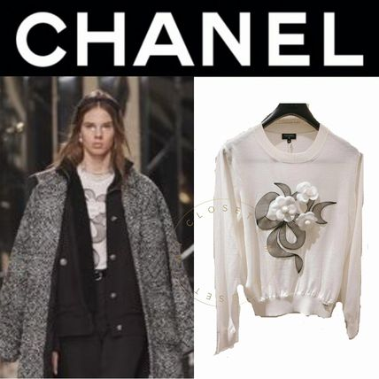 CHANEL ICON Logo Crew Neck Casual Style Wool Plain Medium Street Style
