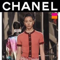 CHANEL ICON Short Casual Style Cashmere Street Style Plain Short Sleeves