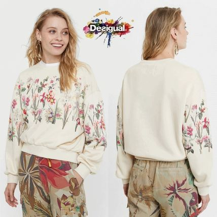Crew Neck Flower Patterns Long Sleeves Cotton Medium