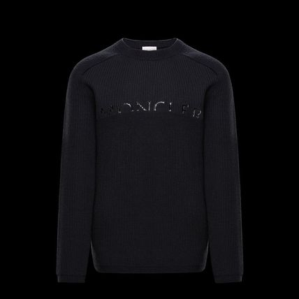 MONCLER Sweaters Crew Neck Wool Long Sleeves Plain Logo Sweaters 5