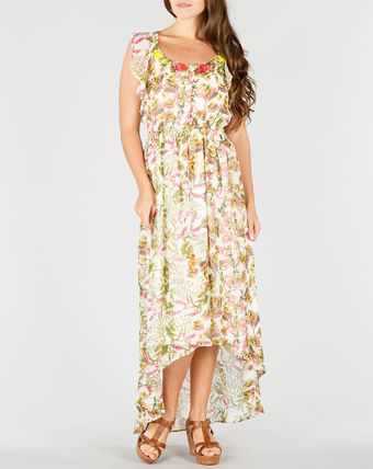Flower Patterns Sleeveless Long Dresses