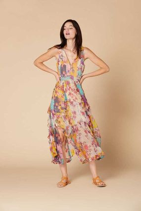 Flower Patterns Cotton Long Short Sleeves Dresses