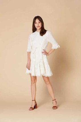 Short Cotton Short Sleeves Formal Style  Dresses