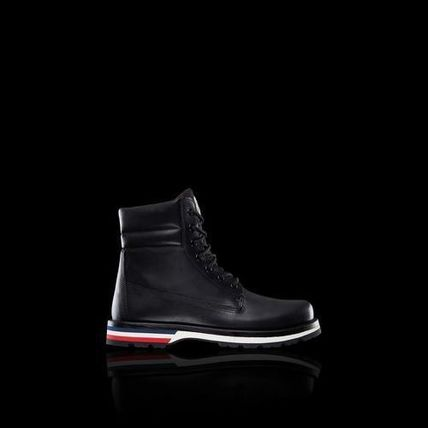 MONCLER Plain Toe Blended Fabrics Plain Leather Logo Engineer Boots