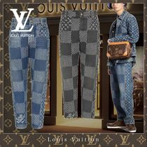 Louis Vuitton DAMIER Street Style Collaboration Cotton Logo Jeans