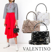VALENTINO Casual Style Calfskin Studded Street Style 2WAY Office Style