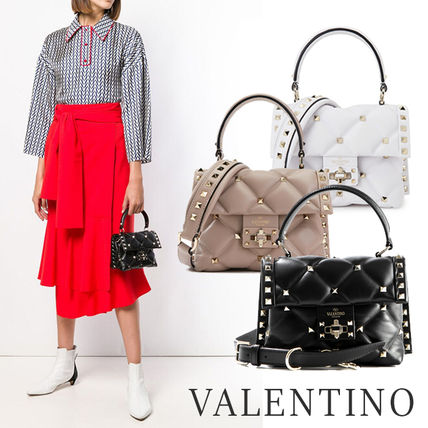 Casual Style Calfskin Studded Street Style 2WAY Office Style