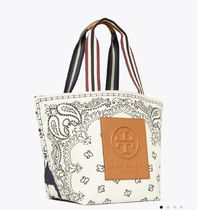 Tory Burch Casual Style Canvas A4 Logo Totes