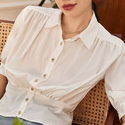Casual Style Cropped Plain Office Style Elegant Style