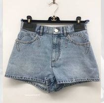 CHANEL Short Casual Style Denim Plain Party Style Office Style