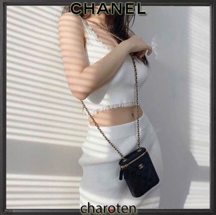 CHANEL Shoulder Bags Casual Style Calfskin Vanity Bags 3WAY Chain Plain Leather