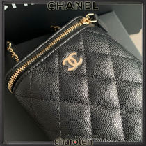 CHANEL ICON Casual Style Calfskin Vanity Bags 3WAY Chain Plain Leather