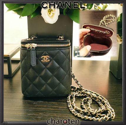 CHANEL Shoulder Bags Casual Style Calfskin Vanity Bags 3WAY Chain Plain Leather 3
