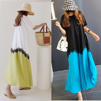 Crew Neck Casual Style Maxi Flared Plain Cotton Long