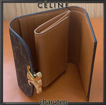 CELINE Triomphe Unisex Calfskin Canvas Leather Folding Wallet Small Wallet