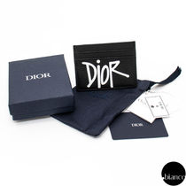Christian Dior Unisex Calfskin Street Style Collaboration Logo Card Holders
