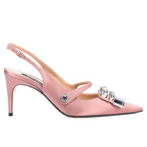 Sergio Rossi Casual Style Plain Pin Heels Party Style With Jewels