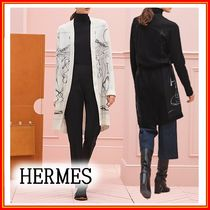 HERMES Casual Style Cashmere Silk Long Sleeves Medium Office Style