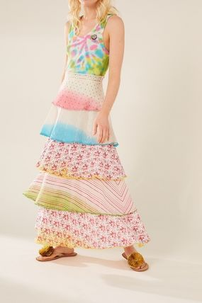 Flower Patterns Casual Style Long Elegant Style Maxi Skirts