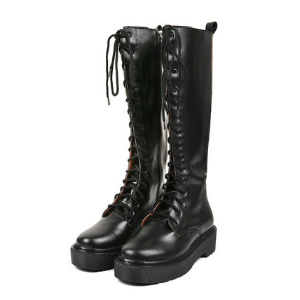 OPEN THE DOOR Lace-up Casual Style Street Style Plain Lace-up Boots