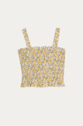Short Flower Patterns Casual Style Chiffon Cropped