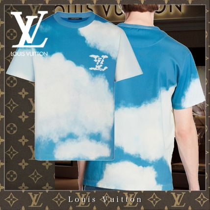Louis Vuitton Crew Neck Street Style Bi-color Cotton Short Sleeves Logo