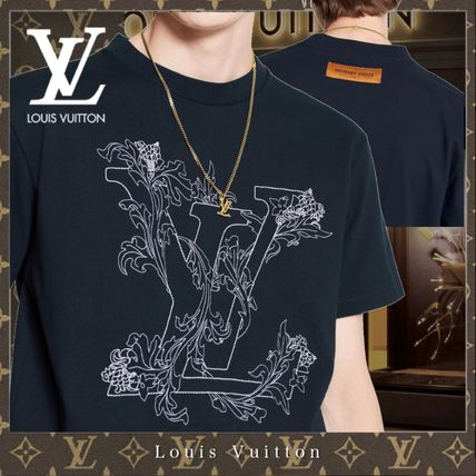 Louis Vuitton Crew Neck Crew Neck Street Style Bi-color Cotton Short Sleeves Logo