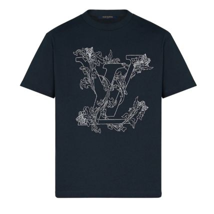 Louis Vuitton Crew Neck Crew Neck Street Style Bi-color Cotton Short Sleeves Logo 3