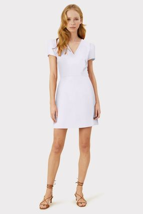 Short Casual Style Tight A-line V-Neck Plain Short Sleeves
