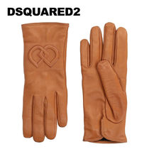 D SQUARED2 Plain Leather Logo Leather & Faux Leather Gloves