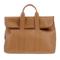 3.1 Phillip Lim Casual Style Unisex Calfskin A4 Plain Leather Office Style