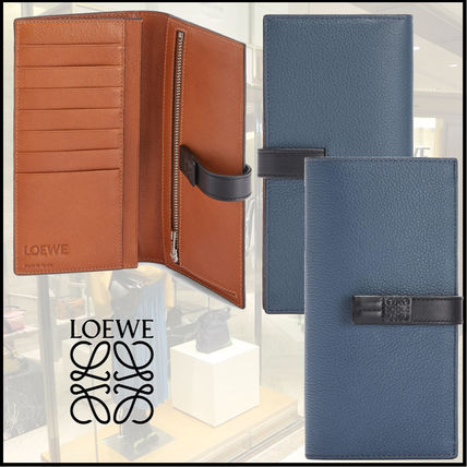 LOEWE SMALL VERTICAL WALLET Calfskin Bi-color Plain Folding Wallet Logo Long Wallets
