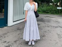 Flared Skirts Stripes Casual Style Street Style Long
