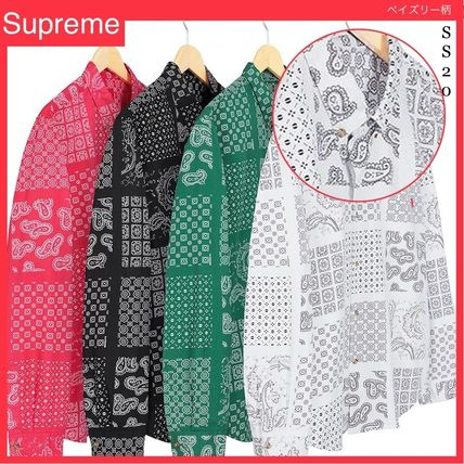 Supreme Button-down Paisley Unisex Street Style Long Sleeves Cotton