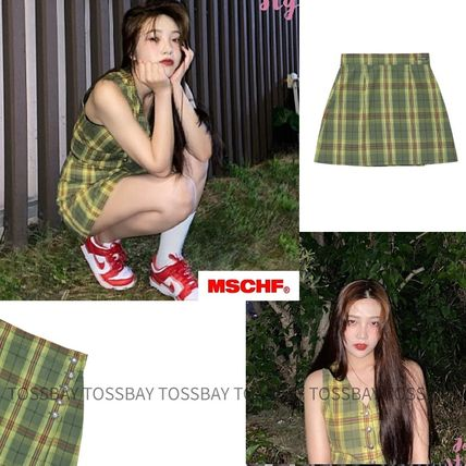 MISCHIEF Pencil Skirts Gingham Glen Patterns Tartan Street Style Logo