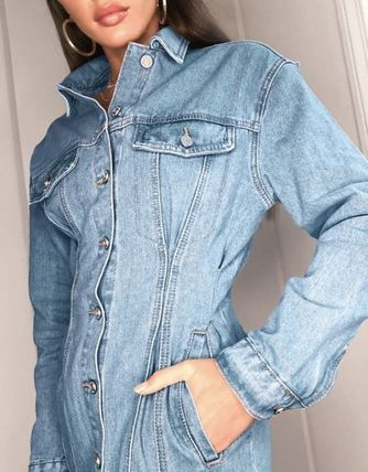 Casual Style Denim Long Sleeves Medium Front Button Dresses
