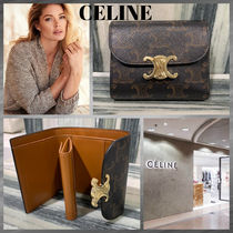 CELINE Triomphe Canvas Monogram Calfskin Leather Folding Wallet Small Wallet Logo