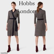 Hobbs London Wrap Dresses Tight A-line V-Neck Cropped Medium Office Style