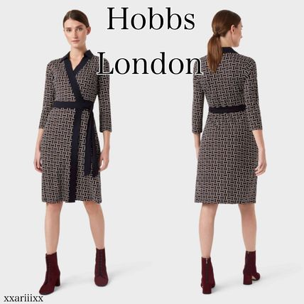 Wrap Dresses Tight A-line V-Neck Cropped Medium Office Style