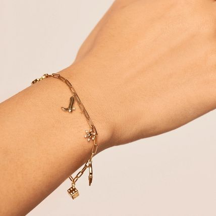 Casual Style Chain Handmade Silver 18K Gold Bracelets