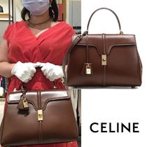 CELINE 16 Casual Style Calfskin A4 2WAY Plain Leather Office Style