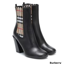 Burberry Gingham Round Toe Casual Style Blended Fabrics Plain Leather