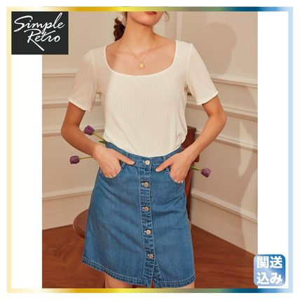 Casual Style Denim Skirts