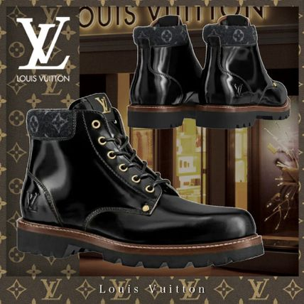 Louis Vuitton MONOGRAM Logo Monogram Leather Street Style Engineer Boots