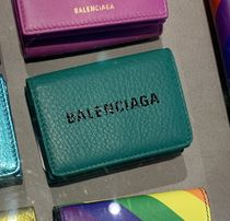 BALENCIAGA Plain Leather Folding Wallet Logo Folding Wallets