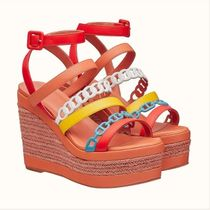 HERMES Open Toe Plain Leather Logo Platform & Wedge Sandals