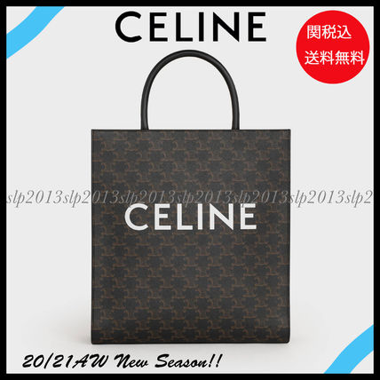 CELINE Triomphe Canvas Monogram Unisex Canvas Street Style 2WAY Leather Logo Totes